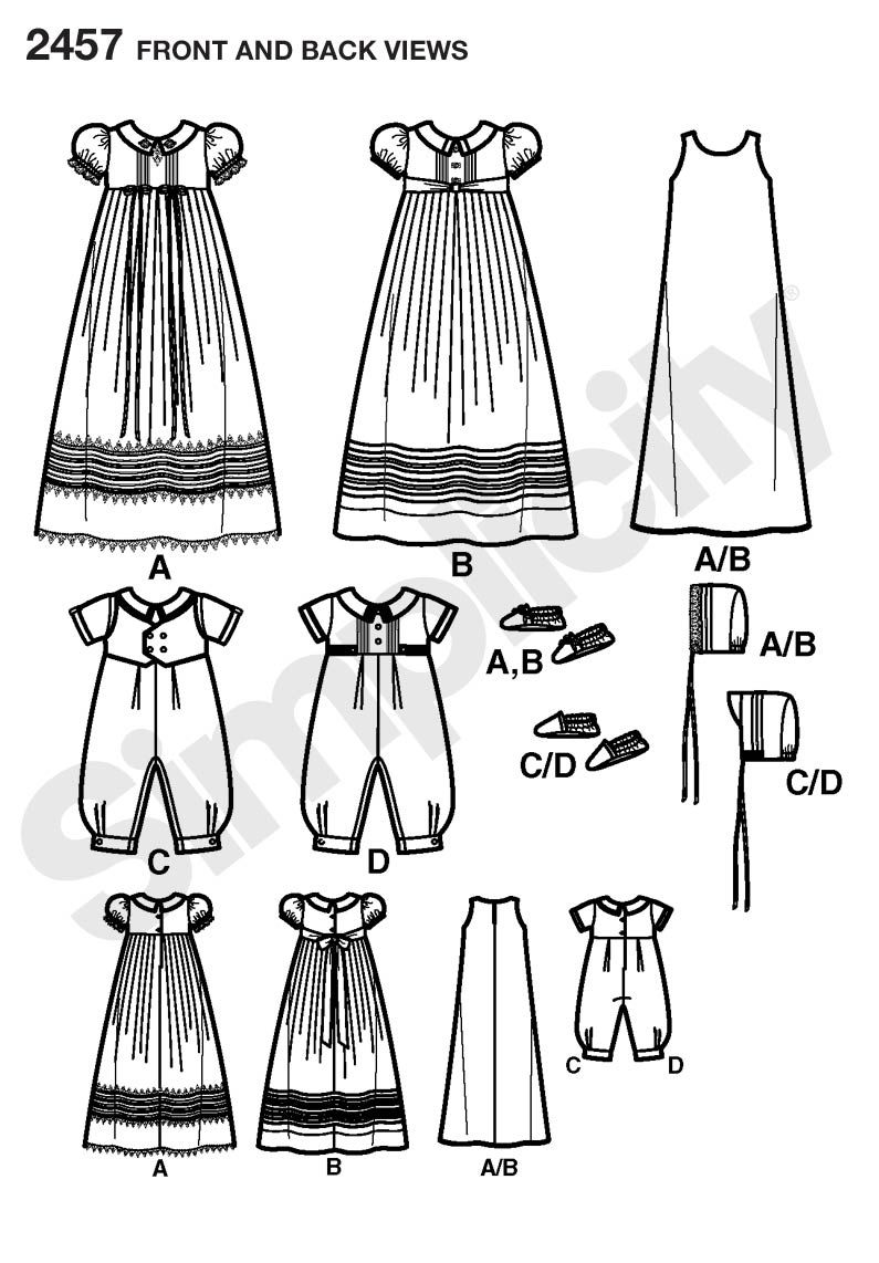 Babies Christening sets Sewing Pattern 2457 Simplicity. Classic ...