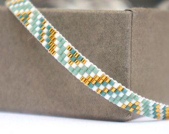 Conjunto de 2 pulseras tejidas de Miyuki con cierre chapado en oro
