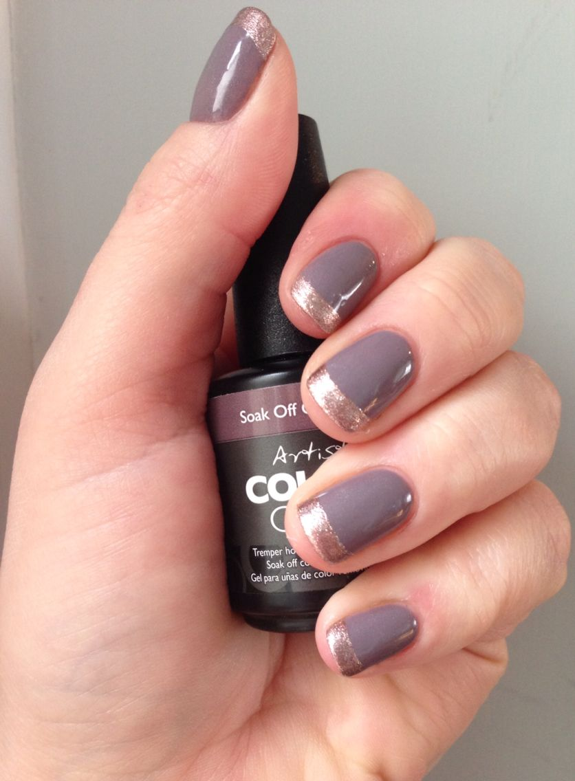 Artistic Colour Gloss UV Gel nails. Metallic french manicure. Vogue ...