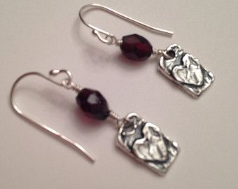 Garnet Gemstone Heart Rectangle Earrings One of a Kind Faceted Freeform Rustic Dangle Valentine Jewelry Gift