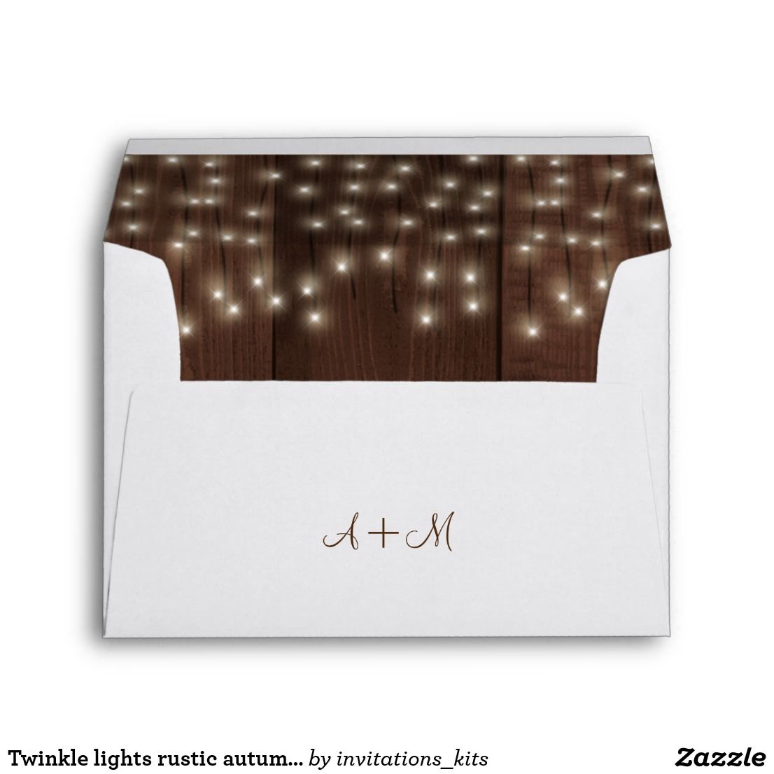 Twinkle lights rustic autumn barn wood wedding envelope | Themed ...
