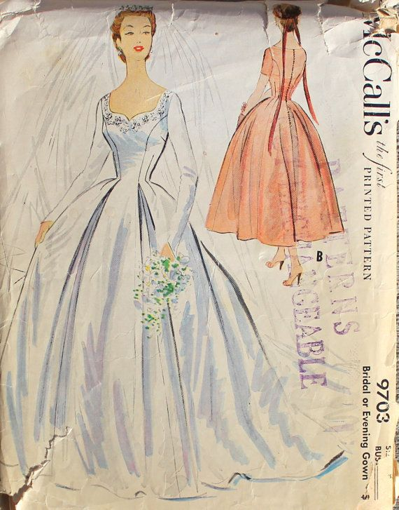 1950s McCalls Wedding or Bridal Dress Gown Vintage Sewing Pattern ...