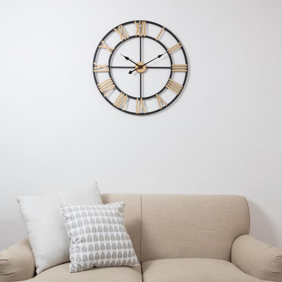 Large Black & Gold Roman Numeral Skeleton Clock | Large black ...