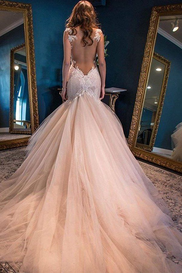 Sexy Backless Lace Mermaid Wedding Dresses, 2017 Tulle Cheap Wedding ...