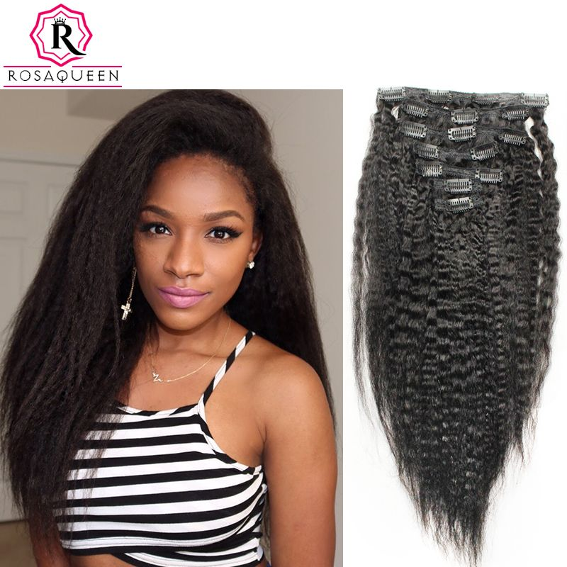 Kinky Straight Clip In Human Hair Extensions African American