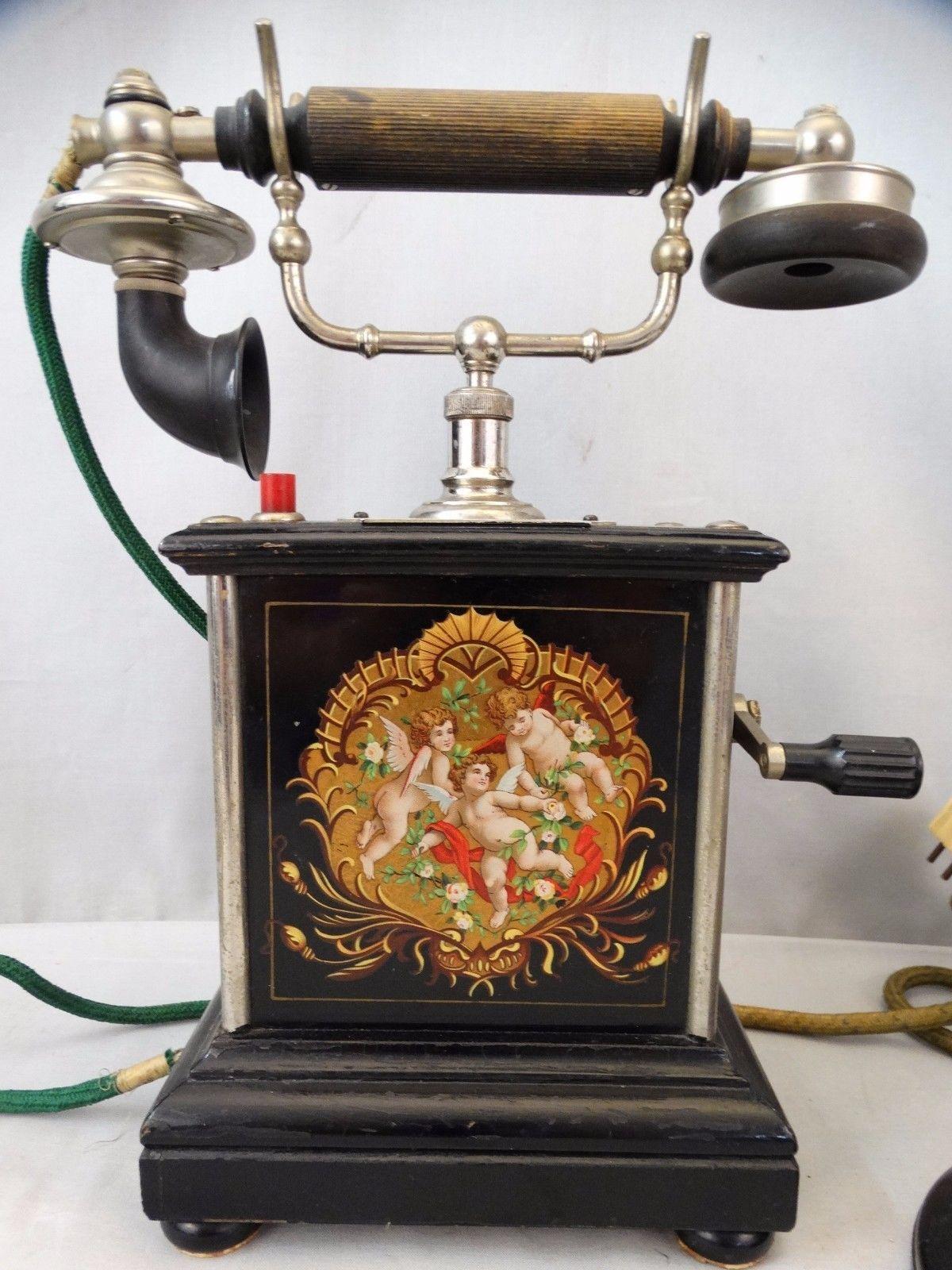 antique edwardian era danish victorian cherub old ktas crank phone | ebay