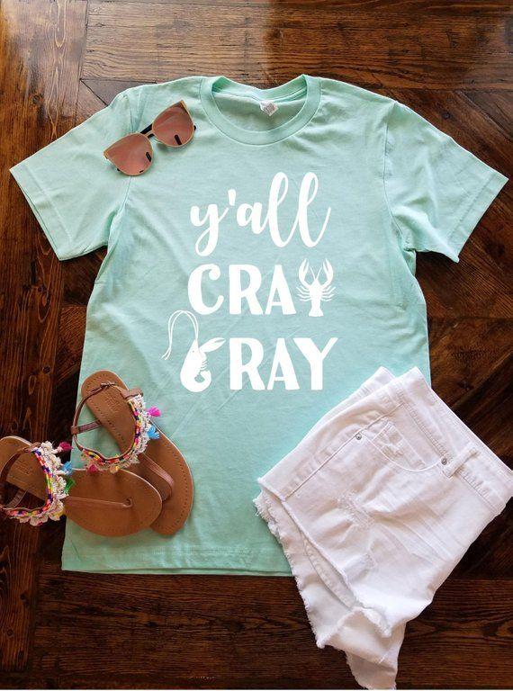 b366655a0 Y'all Cray Cray Crawfish Shirt / Funny Crawfish Shirt / Crawfish Season /  Easter / Crawfish Boil Sh