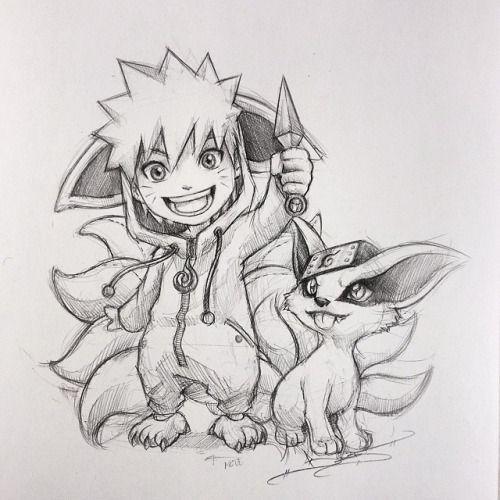 Naruto In A Kyuubi Onesie Alongside A Little Baby Kurama