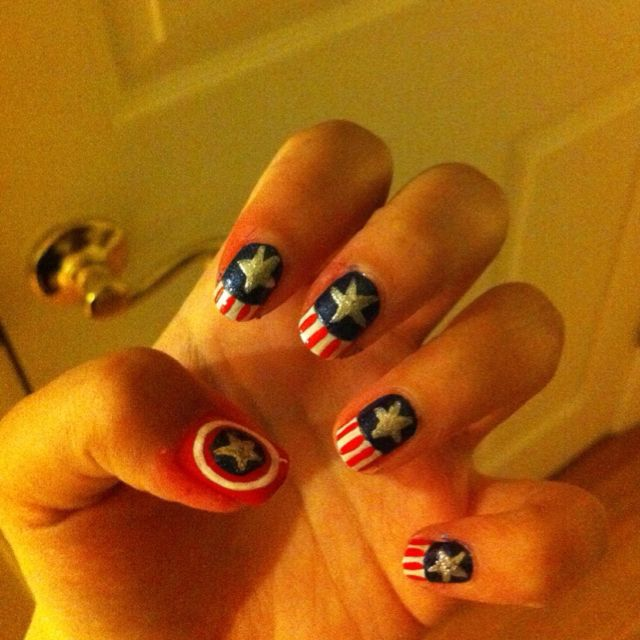 Captain America Nails | Kawaii nail art, Captain america ...