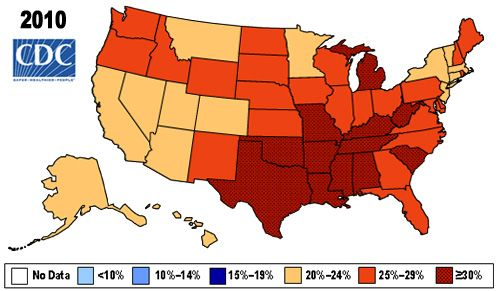 Obesity Rates Map Across United States Including Historical Data