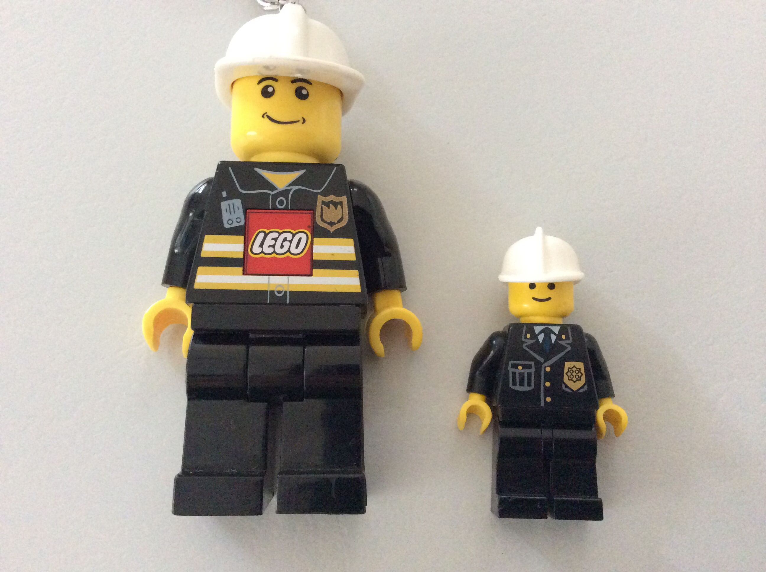 Are these Lego men similar figures? Are any parts of the Lego men in ratio? Use ruler on image or projected image to check ratios of matching parts.