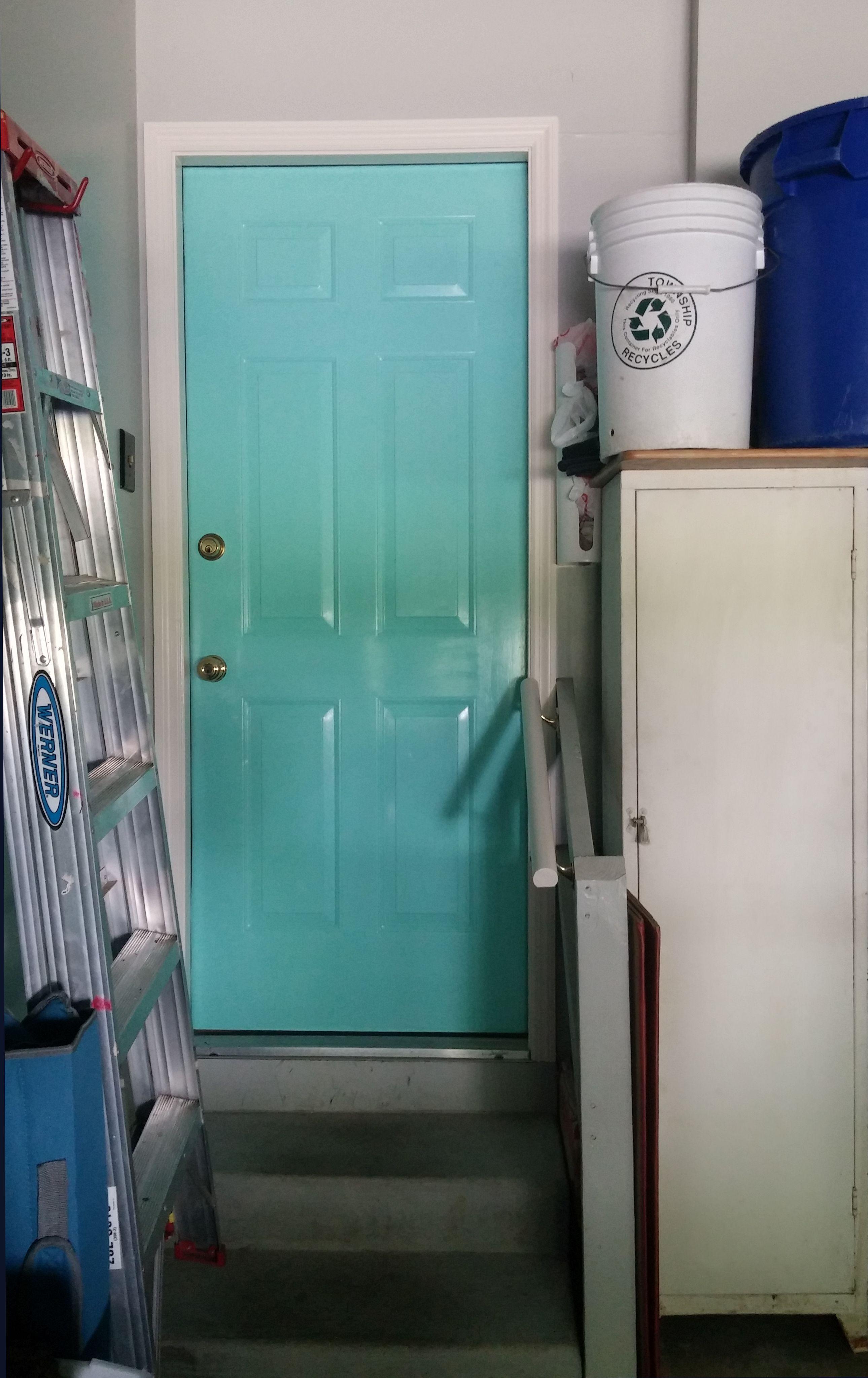 "Behr ""Island Oasis"" semi-gloss on door from garage into ..."