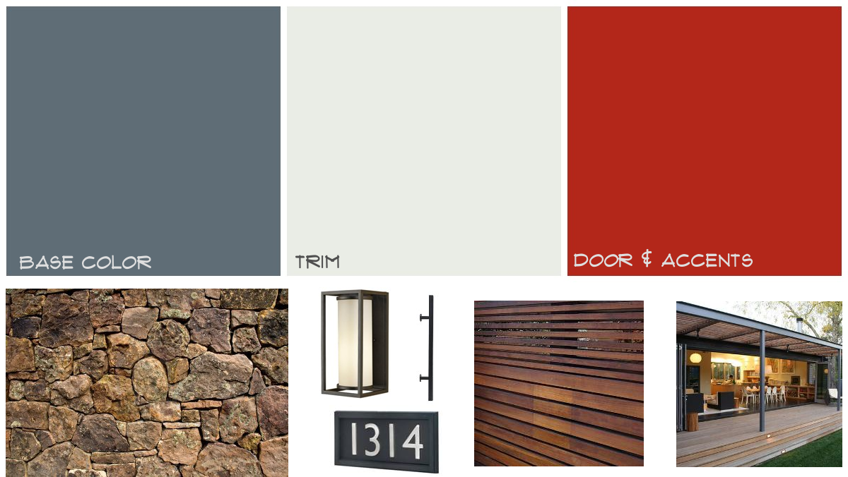 Mid century home exterior mood board midcentury paint - Modern house color schemes exterior ...