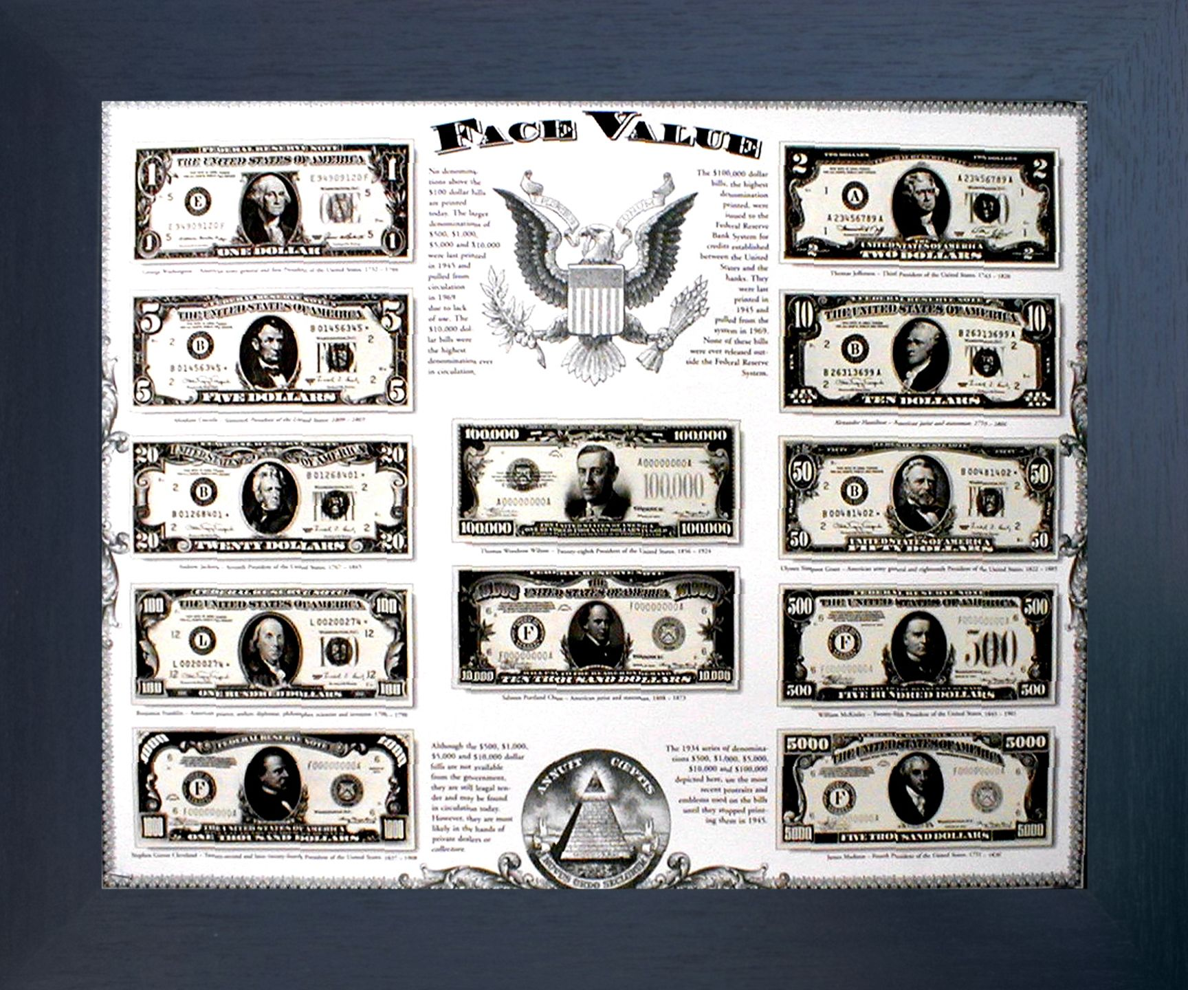 Old US Currency Money Dollar Bills Wall Decor Mahogany Black Framed Picture