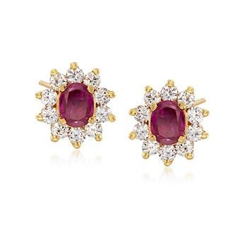 C. 1990 Vintage .60 ct. t.w. Ruby and .65 ct. t.w. Diamond Earrings in 22kt Yellow Gold
