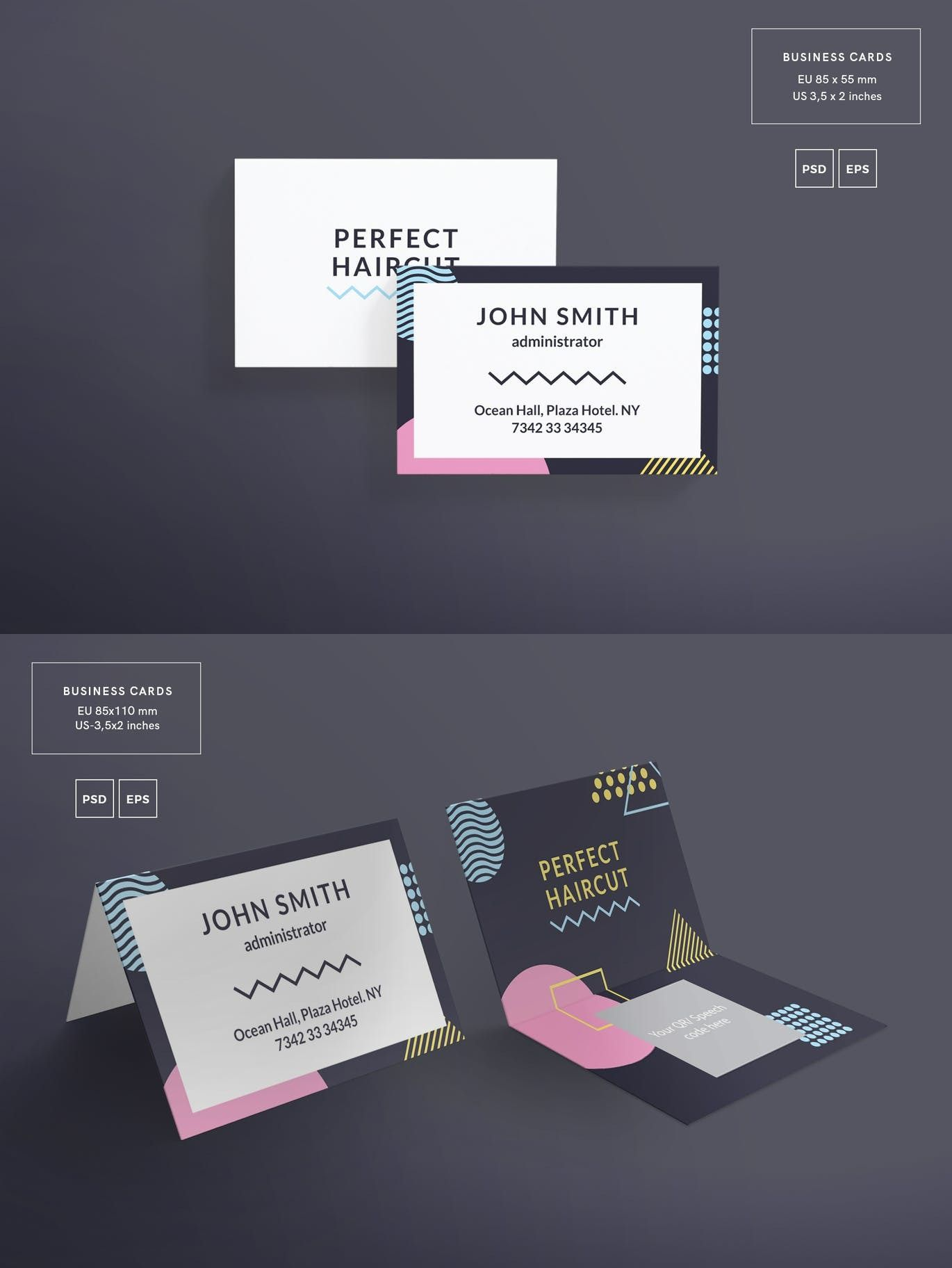 Cartes De Visite Haircut Masterclass Business Card Template Adobe Photoshop Illustrator Hair Design Identit