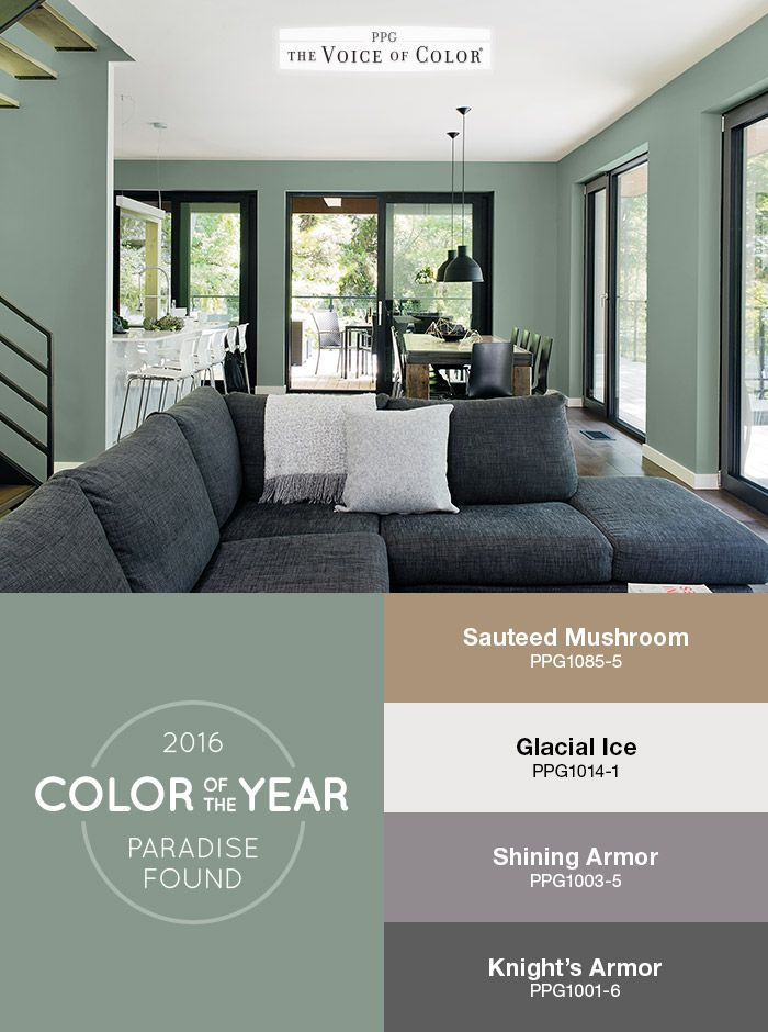 The PPG Voice Of ColorR 2016 Paint Color He Year Paradise Found Is Featured In This Living Room Balanced With Natural Wood Subtle Black Matte Metals