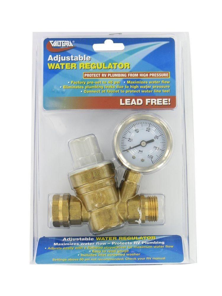 Rv Brass Water Pressure Regulator Reducer With Gauge Valtera Rv Water