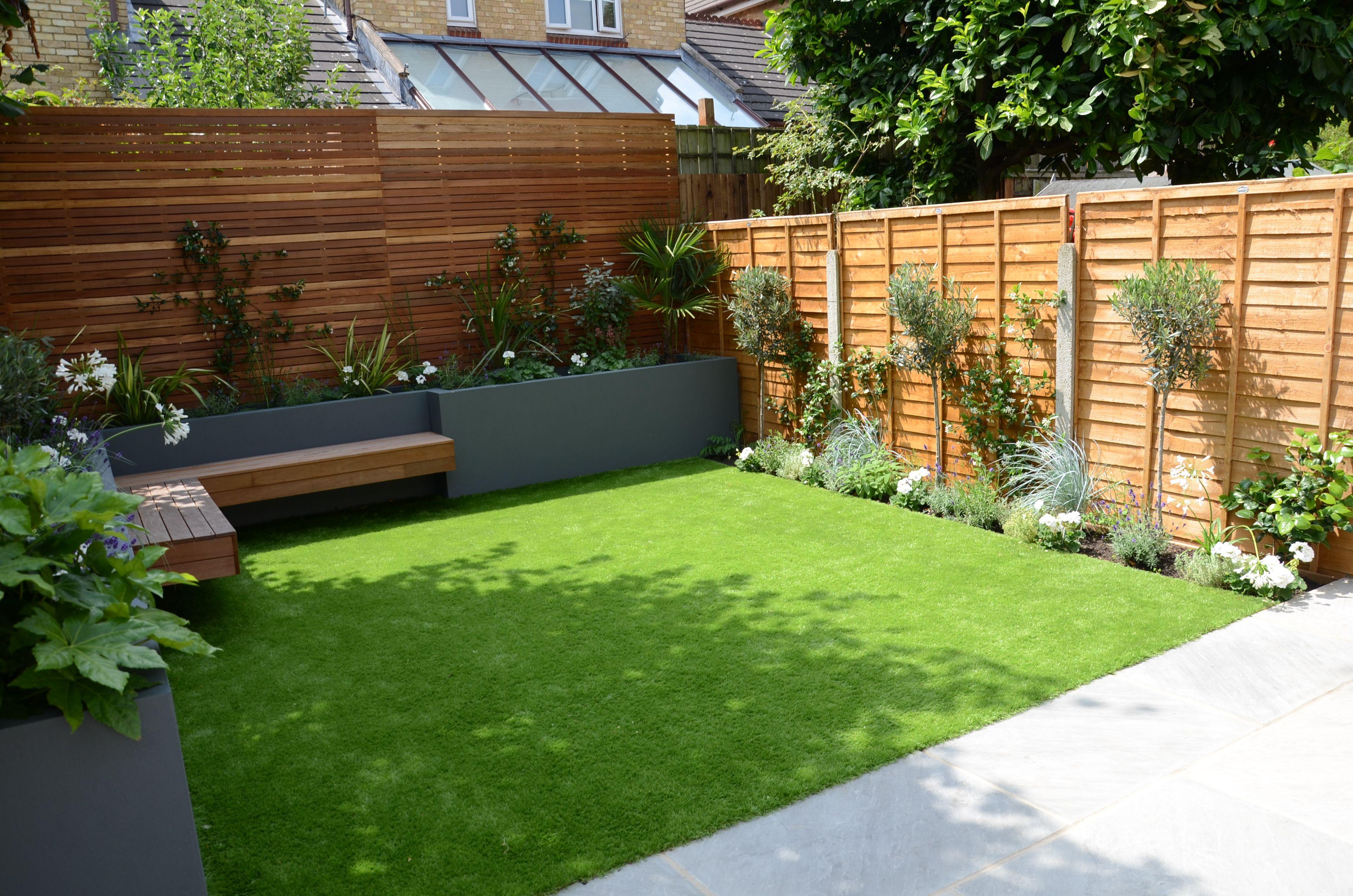 Small Garden Design Fake Grass Low Mainteance Contempoary Design Sleek Fun London Designer Balha… | Small Backyard Gardens, Back Garden Design, Garden Design Layout