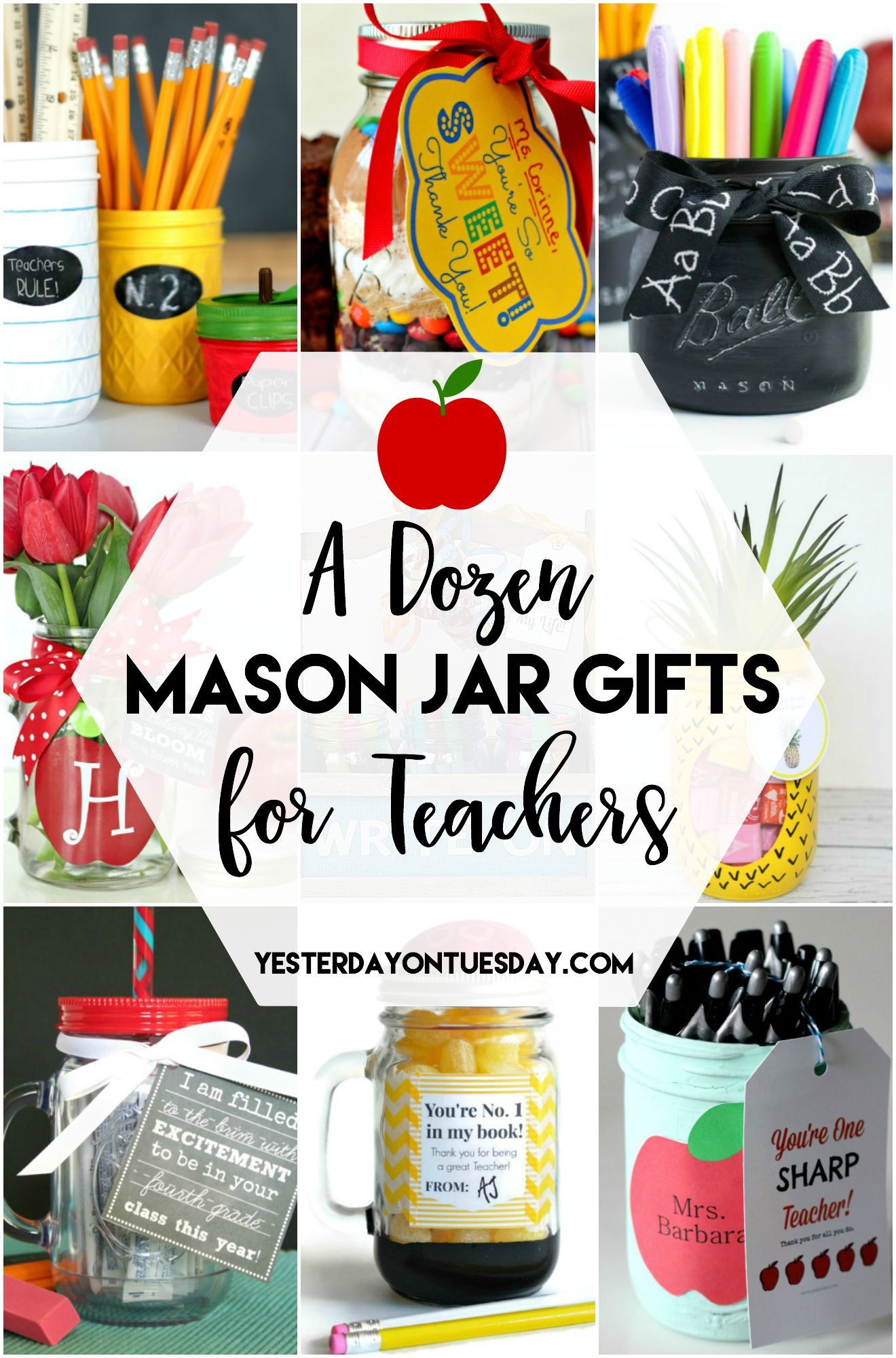 A Dozen Mason Jar Gifts For Teachers Great Ideas To Make That Teacher Feel Special Awesome F Mason Jar Teacher Mason Jar Teacher Gifts Homemade Teacher Gifts