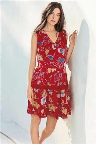 fd578bba6c1fd Buy Red Floral Lace Trim Sun Dress from the Next UK online shop ...