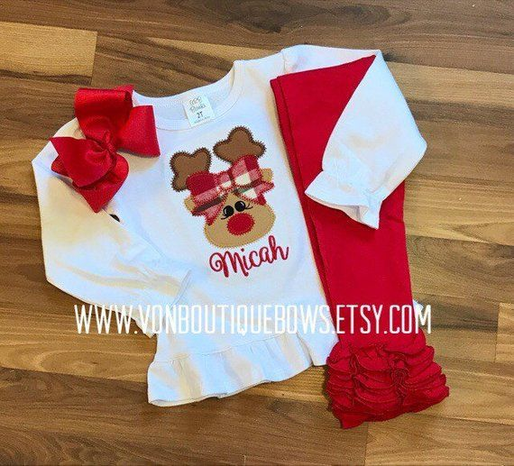 c42c569bb Reindeer girl red green plaid Personalized Applique Matching Bow Outfit  Girls Boutique Christmas Hol