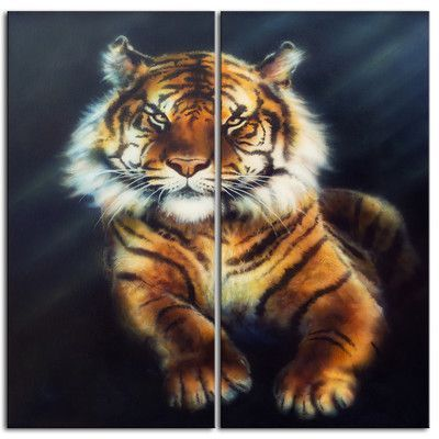 DesignArt Mighty Tiger Animal 2 Piece Graphic Art on Wrapped Canvas Set