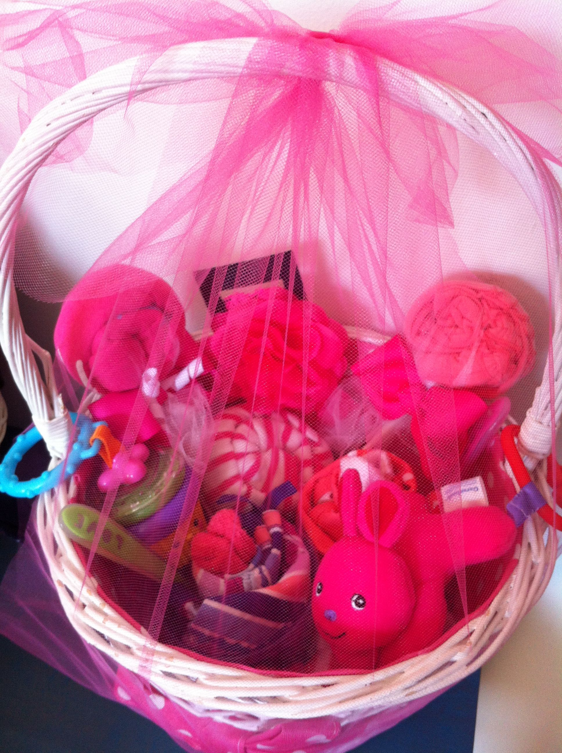 Baby Shower Easter Basket I Made For 1 Of My Great Girlfriends Filled With So Sweet Baby Gifts For A Baby Girl Du Sweet Baby Gifts Easter Baskets Baby Gifts