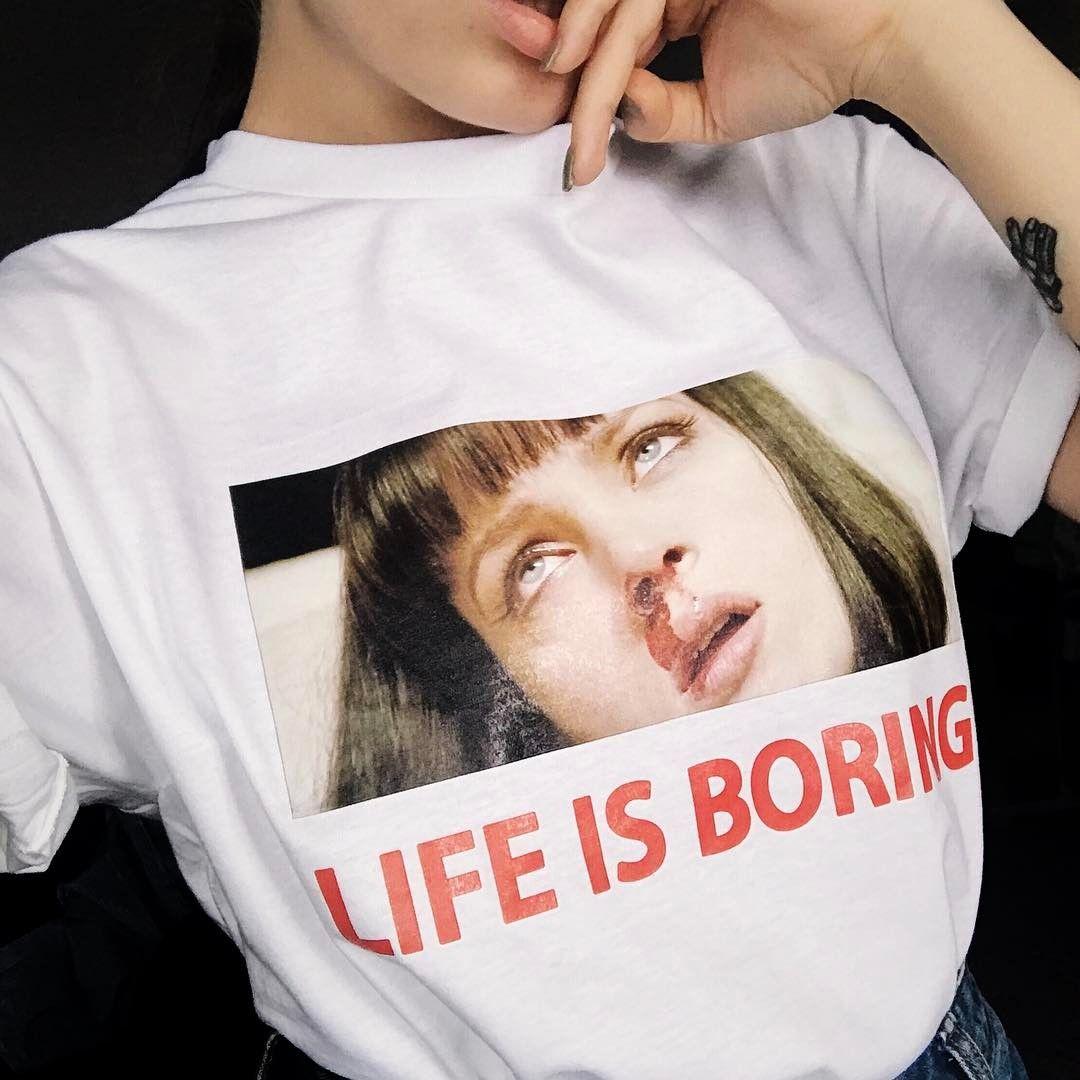 9f0f2ac6558a4 White t-shirt Print Life is boring Pulp Fiction Tarantino Uma Thurman Tattoo