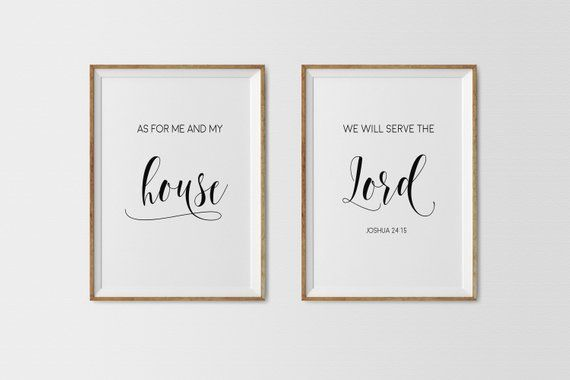 Set Of 2 Printsbible Verse Wall Artas For Me And My Housewe Etsy Bible Verse Wall Art Entry Signs Gallery Wall Layout