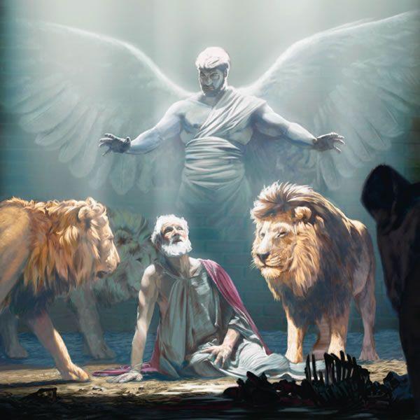 Lucifer Malaikat: Un ángel Protegiendo A Daniel En El Foso De Los Leones