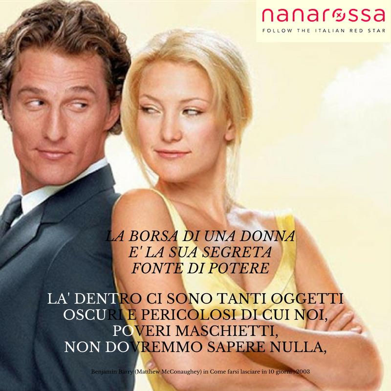 Noi nella borsa dobbiamo avere sempre tutto quello che ci serve! #citazioni #nanarossa #frasidelgiorno #commedie romantiche