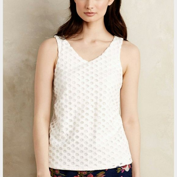 Anthropologie tank Sunday in Brooklyn circle lace tank. The perfect basic white summer top to go with any bottom. Cute split back detail. Worn some, but always hand washed. Anthropologie Tops Tank Tops