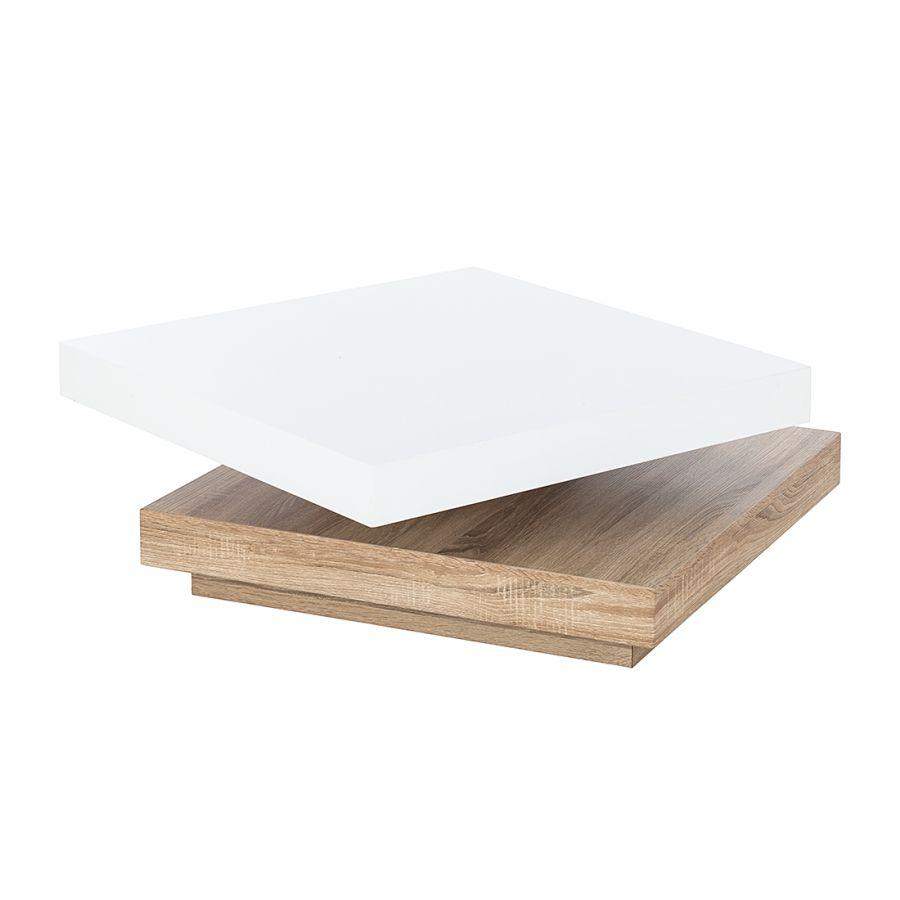 Table Basse Emblaze Blanc Brillant Imitation Chene Sonoma Table Basse Table De Salon Table Murale