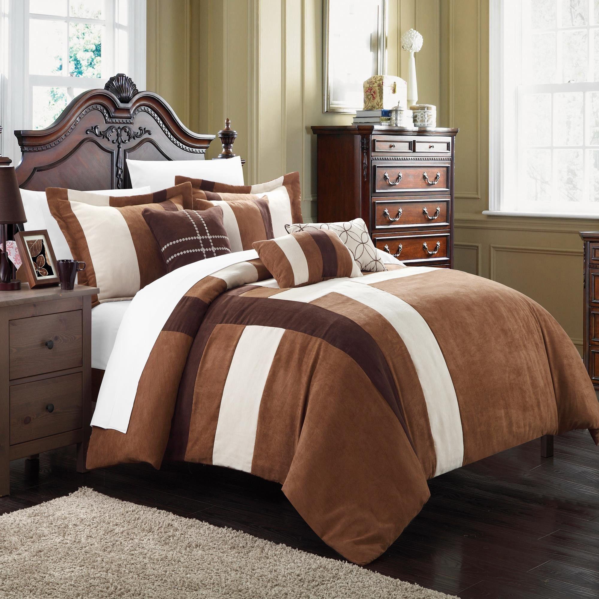 Regina Microsuede Brown Amp Cream 11 Piece Comforter Bed In A Bag Set Home Home Bedroom