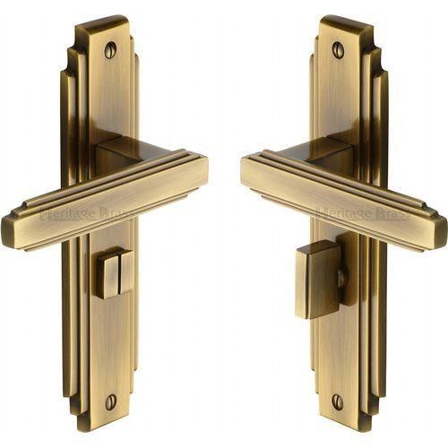 Privacy Door Handle Heritage Brass Finish Antique Brass Door Handles Art Deco Door Brass Door Handles