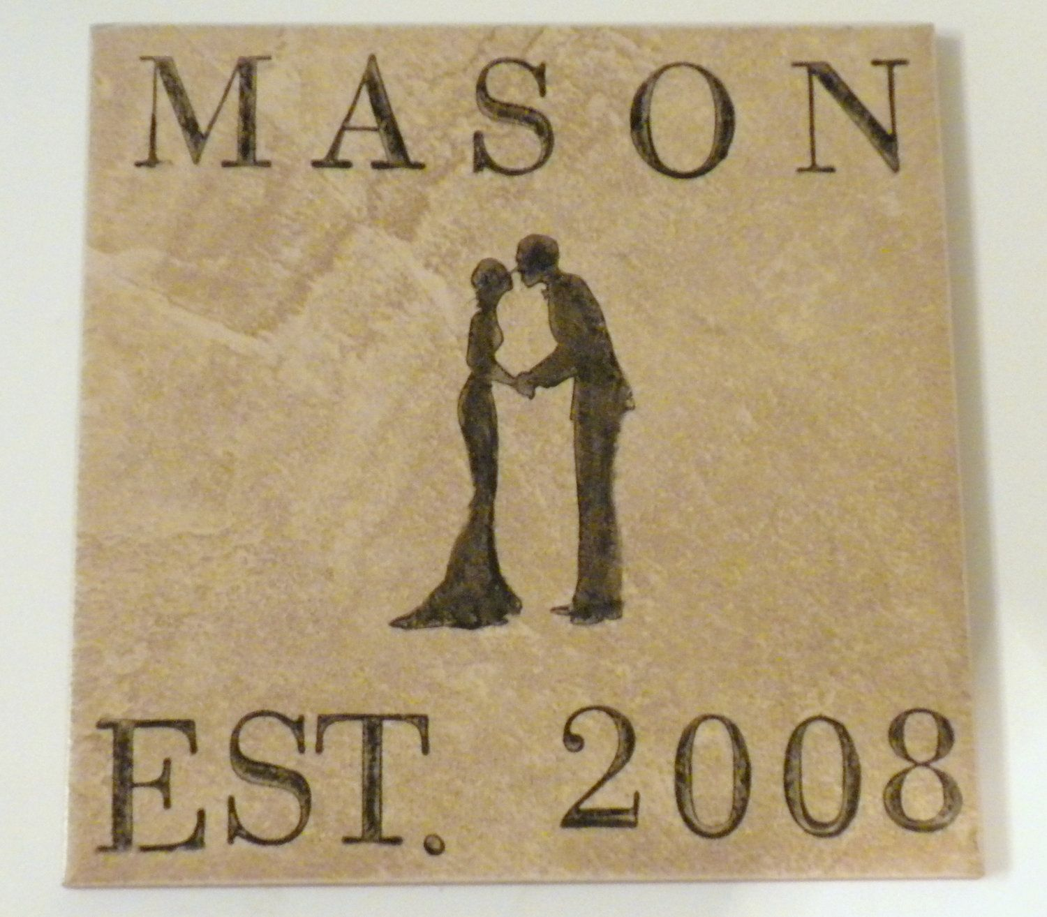 Personalized Just Married Trivet by BarleyGirlDesigns on Etsy