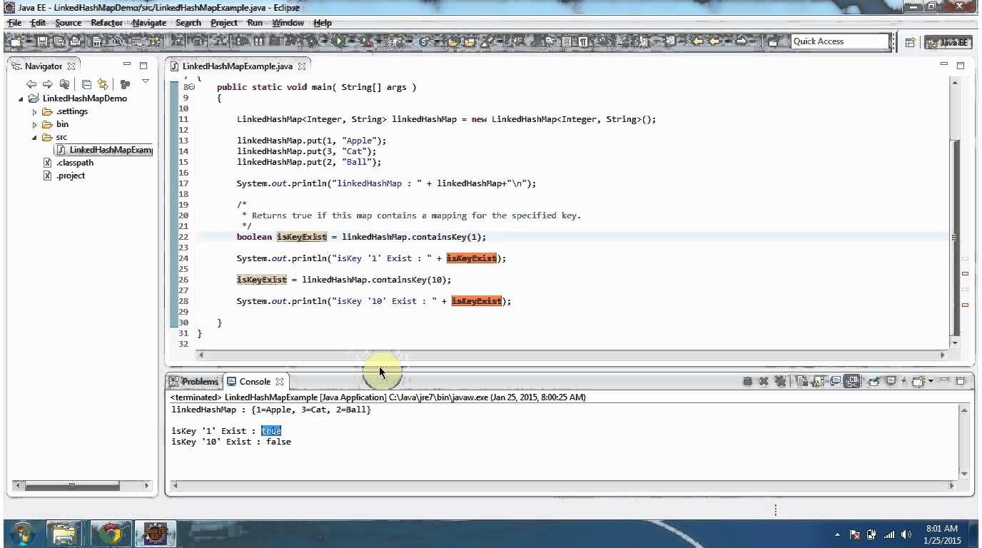 Java Collection Framework LinkedHashMap (ContainsKey