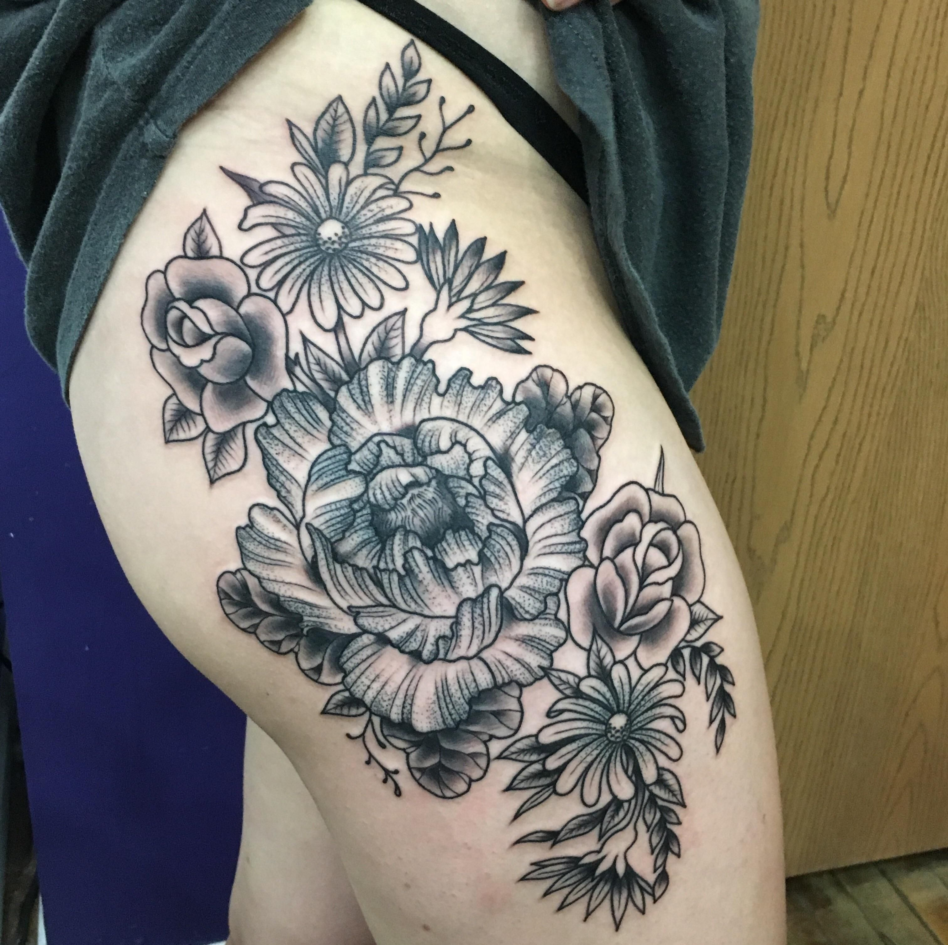 Floral hipthigh piece by levi hatch at eclectic art