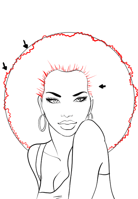 Character Design Tutorial Step By Step : How to draw afro hair in fashion design sketches step by