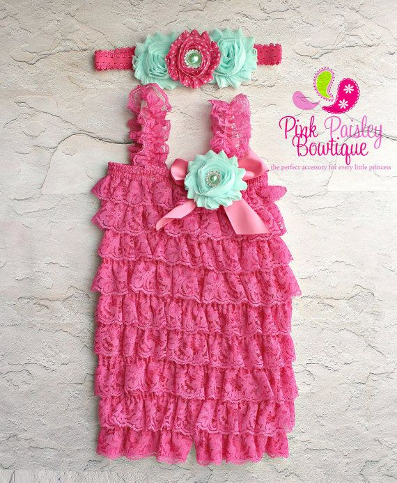 441ee88ec49 Watermelon Pink petti lace romper and baby headband