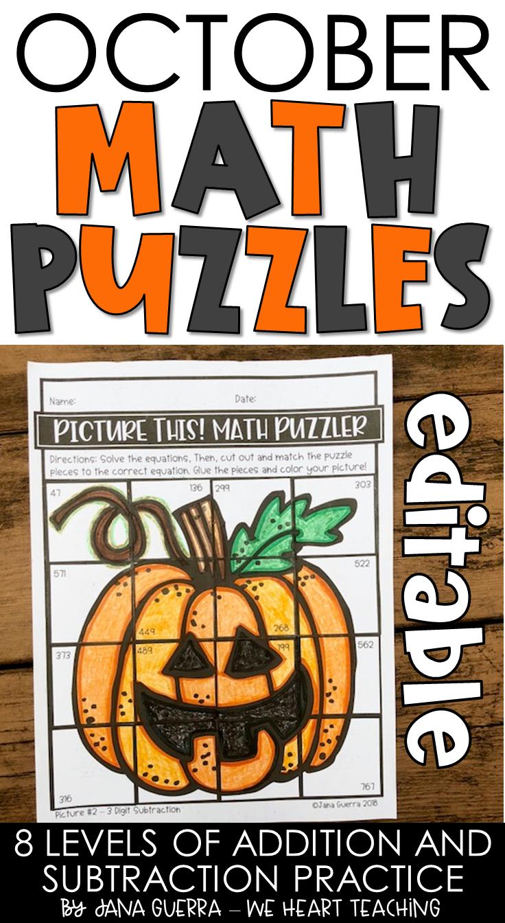 October Math Puzzles / October Math Activities Maths