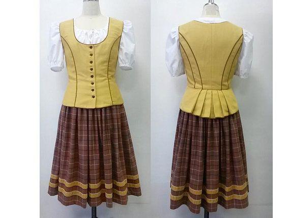 MediumLarge Handmade 3 pc dirndl set Dirndl blouse, vest