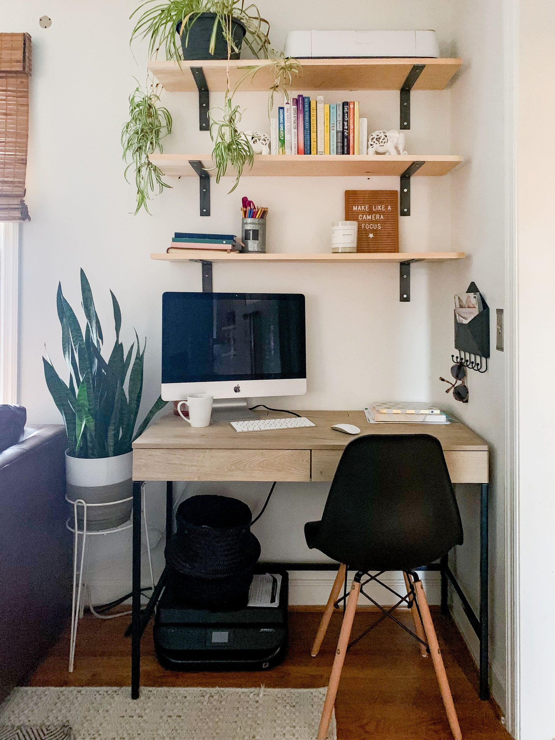 How To Create A Home Office In A Living Room Diy Shelves Paint Selections Living Room Office Combo Desk In Living Room Office Room Decor