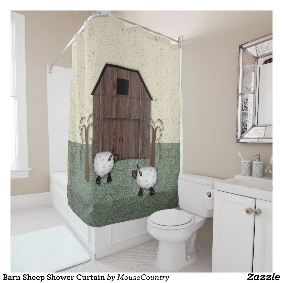 Barn Sheep Shower Curtain Lovely Country Countrydecor Bathroomdecor Showercurtain Countrybathroomdecor Showercurtainrustic