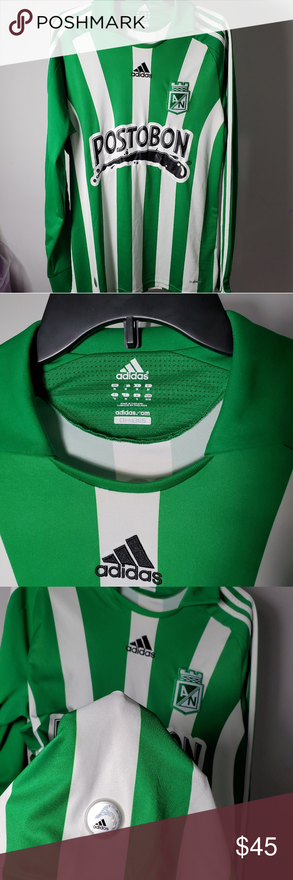 Formular Universal Gobernador  Adidas Atletico Nacional Jersey Green, M Adidas Atletico Nacional NA -  Medellin Colombia Green and white stripes S… in 2020 | Colorful shirts,  Adidas green, Clothes design