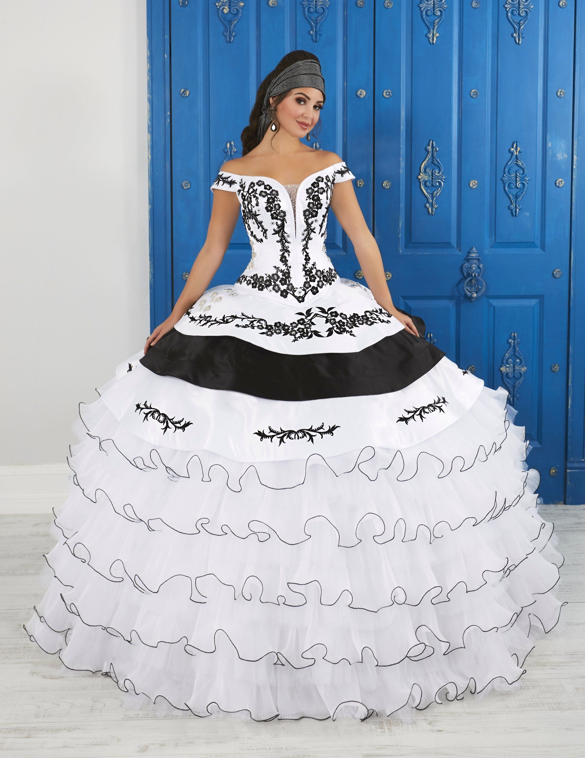 74df041c3f1 White Black Off Shoulder Charro Dress by House of Wu LA Glitter 24050