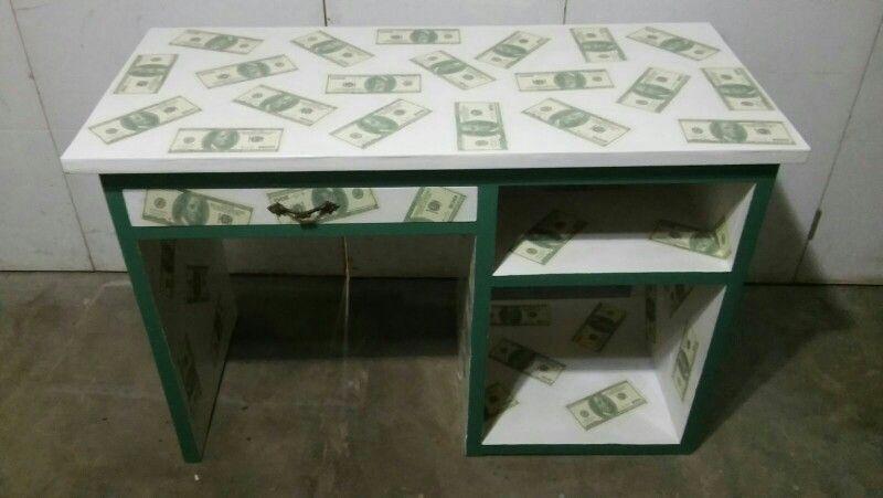 Decoupage escritorio dólar vintage