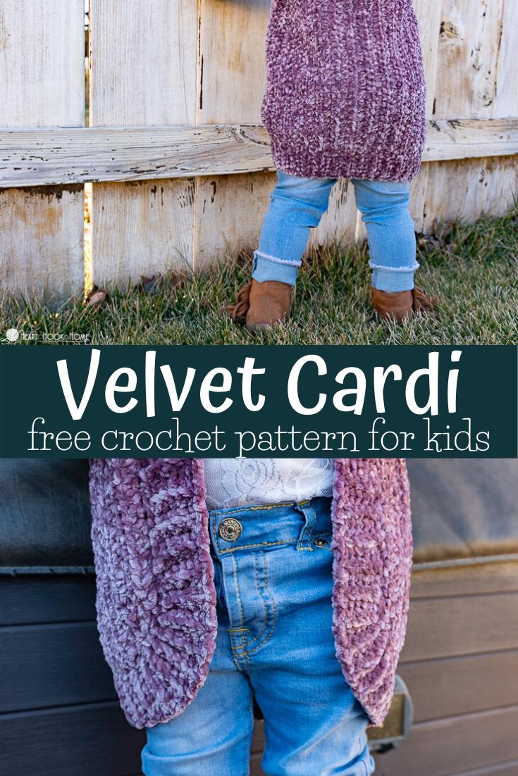 Velvet Cardigan Free Crochet Pattern for Little Kids