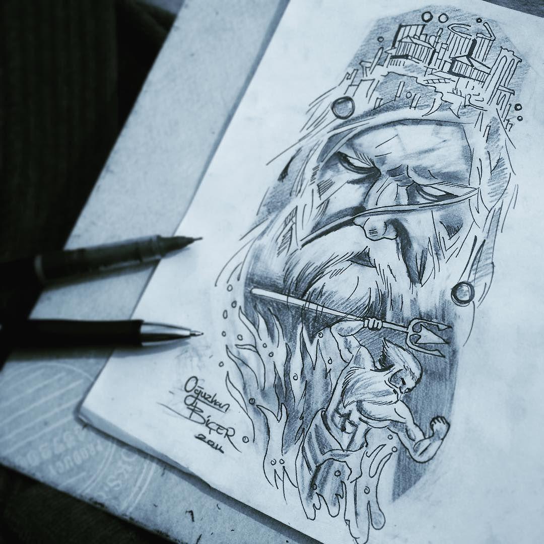 poseidon tattoo design poseidon poseidontattoo poseidondrawing tattooartist. Black Bedroom Furniture Sets. Home Design Ideas